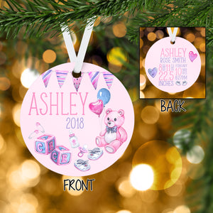 Personalized Baby Girl Christmas Ornament Handmade - Babys Birth Stats - Newborn - 1st Infant Ornament - RO0006