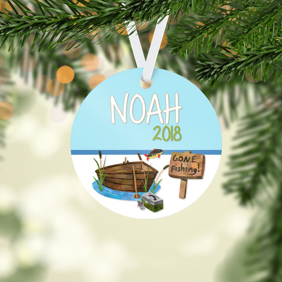 Personalized Fishing Christmas Handmade Ornament 2018 - Boy's Fishing Gift - NewBorn - 1st Christmas Ornaments - RO0012