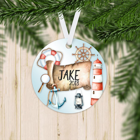 Personalized Nautical Christmas Ornament - RO0052