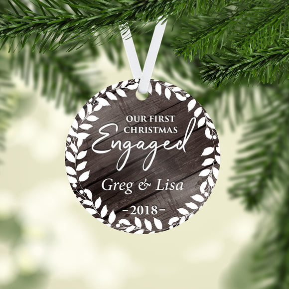 Engaged Christmas Ornament - Personalized Couples - Our 1st Christmas -  2018 - RO0066