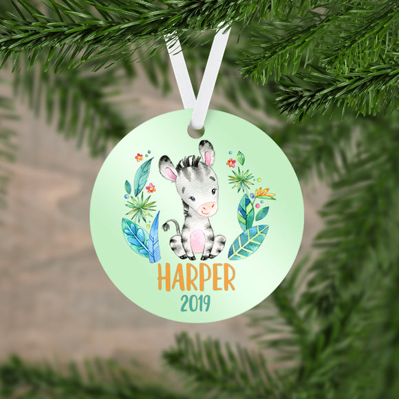 Personalized Zebra Christmas Ornament - RO0077