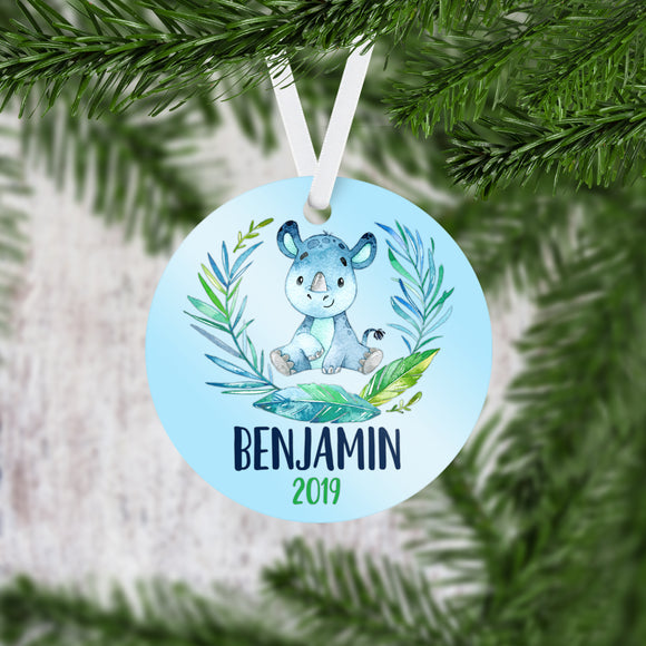 Personalized Rhinoceros Christmas Ornament - RO0078