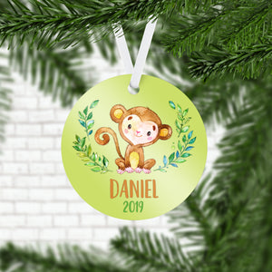 Personalized Monkey Christmas Ornament - RO0079