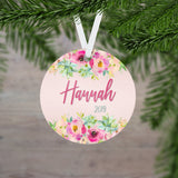 Personalized Floral Christmas Ornament - RO0093