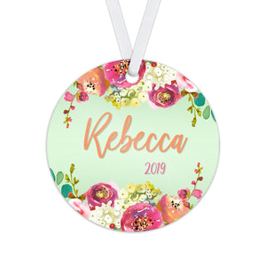 Personalized Floral Christmas Ornament - RO0094
