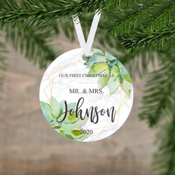 Personalized Our First Christmas As Mr. & Mrs. Ornament - RO0120
