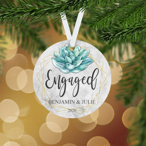 Personalized Engaged Christmas Ornament - RO0124