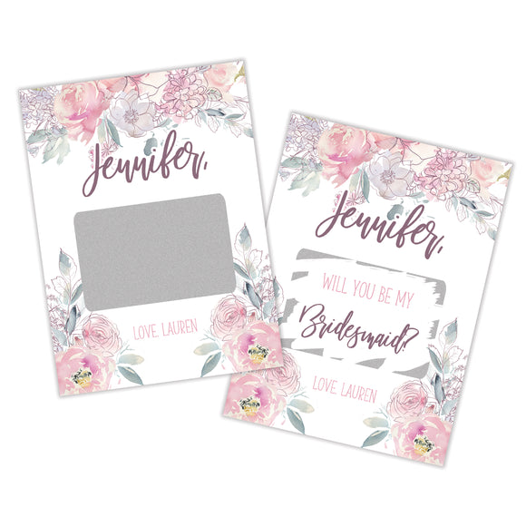 Personalized Bridesmaid Scratch Off Card - SCA0017-SCA0022