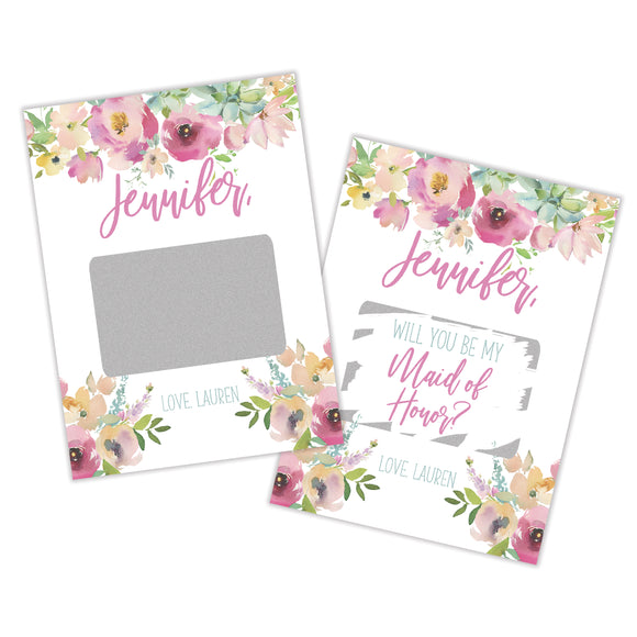 Personalized Maid of Honor Scratch Off Card - SCA0017-SCA0022
