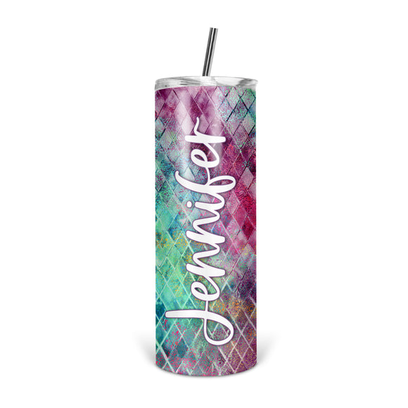 Personalized Colorful Skinny Tumbler With Straw - ST0002