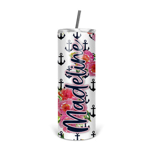 Personalized Anchor Skinny Tumbler With Straw - ST0011