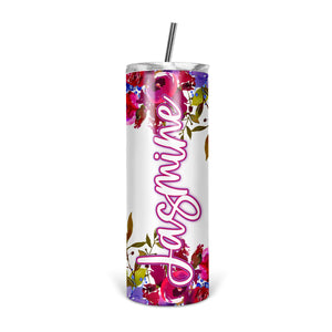 Personalized Floral Skinny Tumbler With Straw - ST0015
