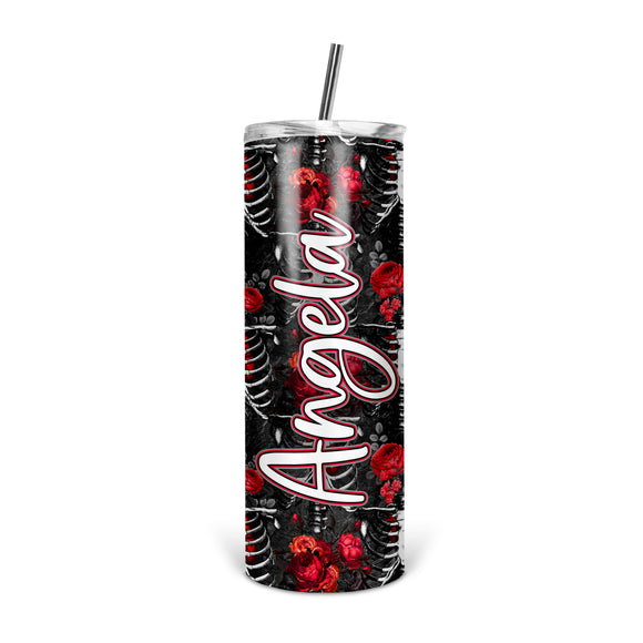Personalized Gothic Ribcage Skinny Tumbler With Straw - ST0025