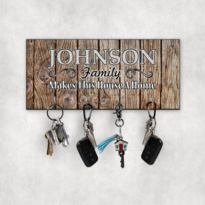 Family Makes This House A Home Future Key Hanger - Wall Key Holder - New Home Gift - Wedding Gift - Home Sign - Key Rack  - KH0007