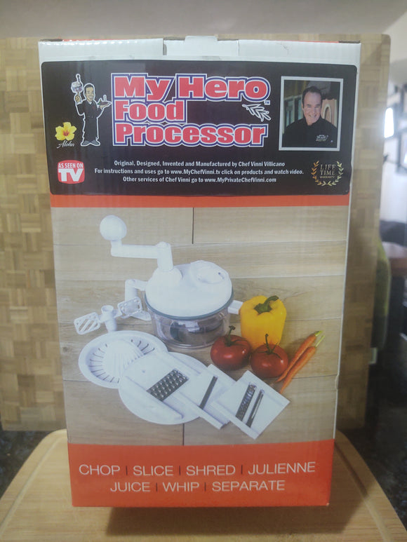 BIG DEAL!  Here only, get Chef Vinni's MY HERO FOOD PROCESSOR $100 VALUE FOR ONLY $69.99 WITH DISCOUNT CODE AT CHECKOUT!!!  WATCH THE VIDEO!!!