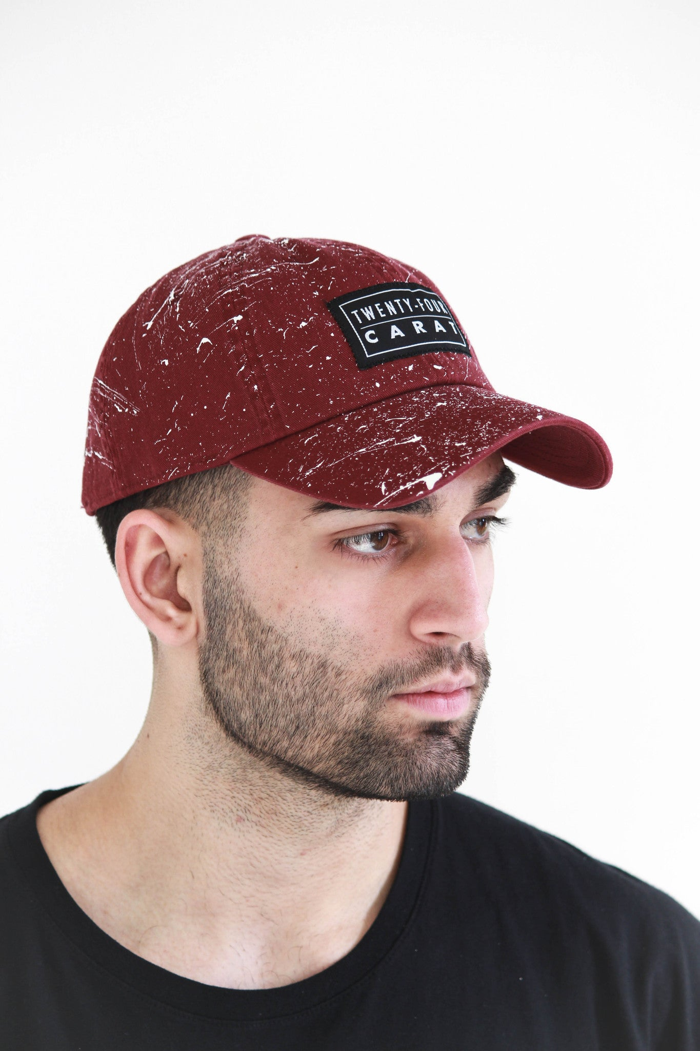 """Splatter"" Dad Cap - Maroon/White"