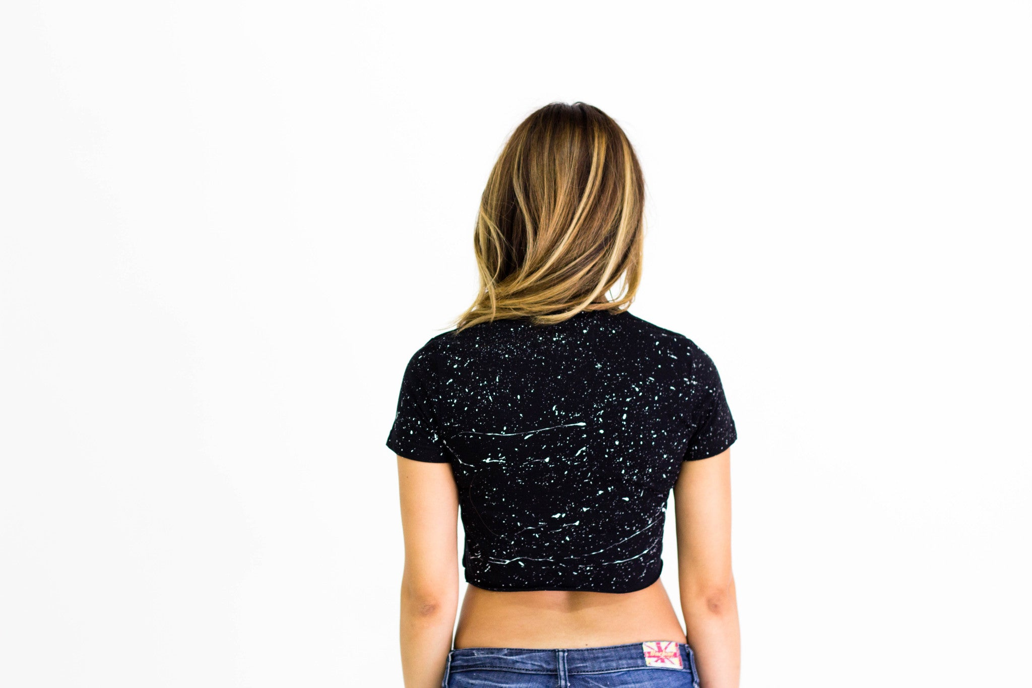 "Women's Crop Top ""Splatter"" Tee - Black/White"