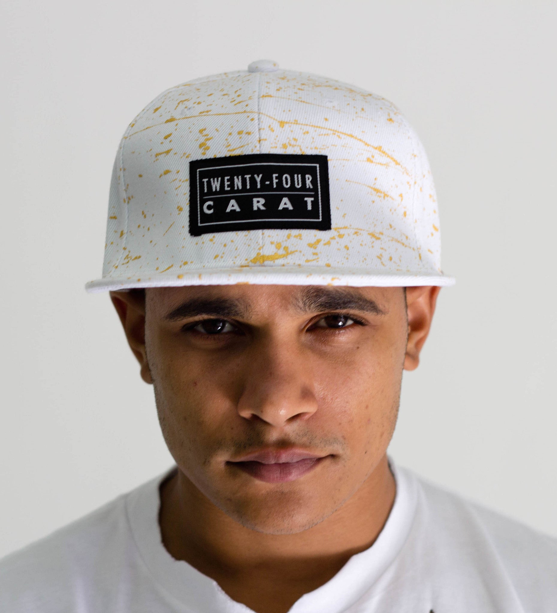 """Splatter"" Snapback - White/Gold"