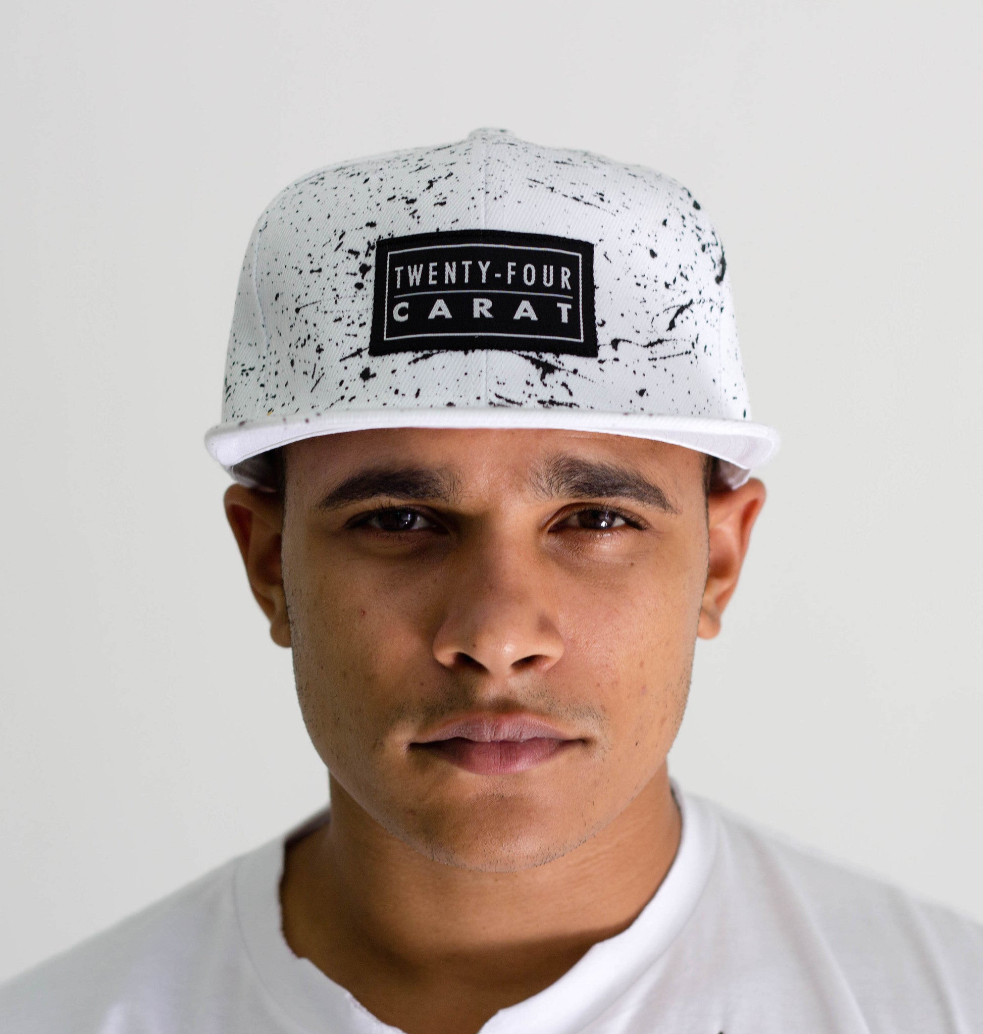 """Splatter"" Snapback - White/Black"