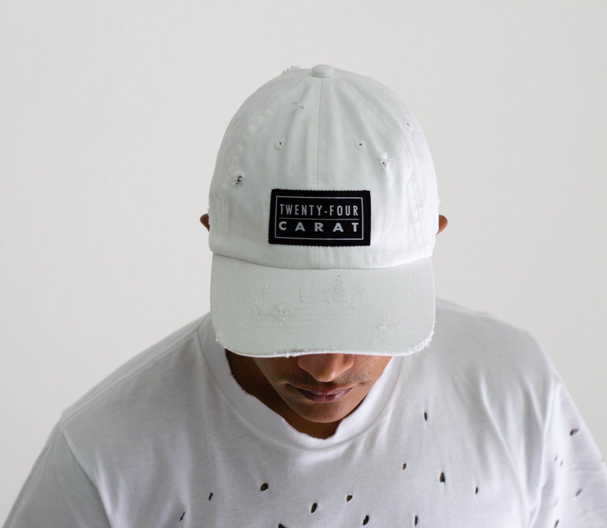 """Destroyed"" Dad Cap - White"