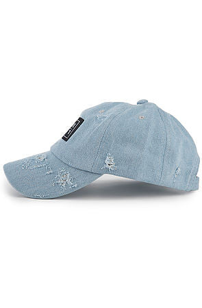 """Destroyed"" Dad Cap - Light Denim"