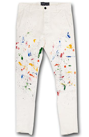 """Painters Pant"" Cream w/ Multi Color"