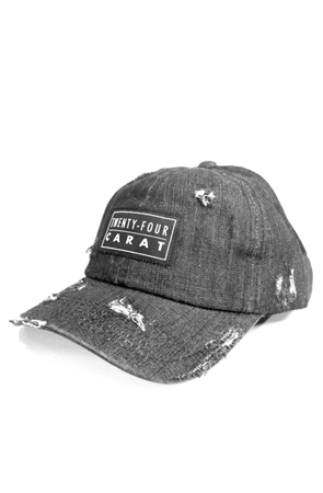 """Destroyed"" Dad Cap - Black Denim"