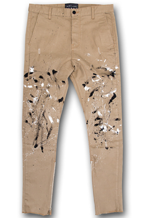 """Painters Pant"" - Tan w/ Black & White"