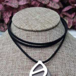 Black Faux Suede Choker - Bellabeat Leaf Necklace