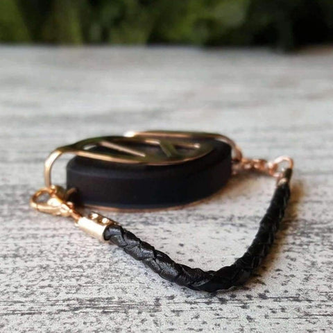 Black Leather Bolo Bellabeat Leaf Bracelet