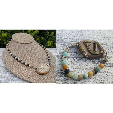 BUNDLE SET - 19 Inch Amazonite Necklace and Bracelet