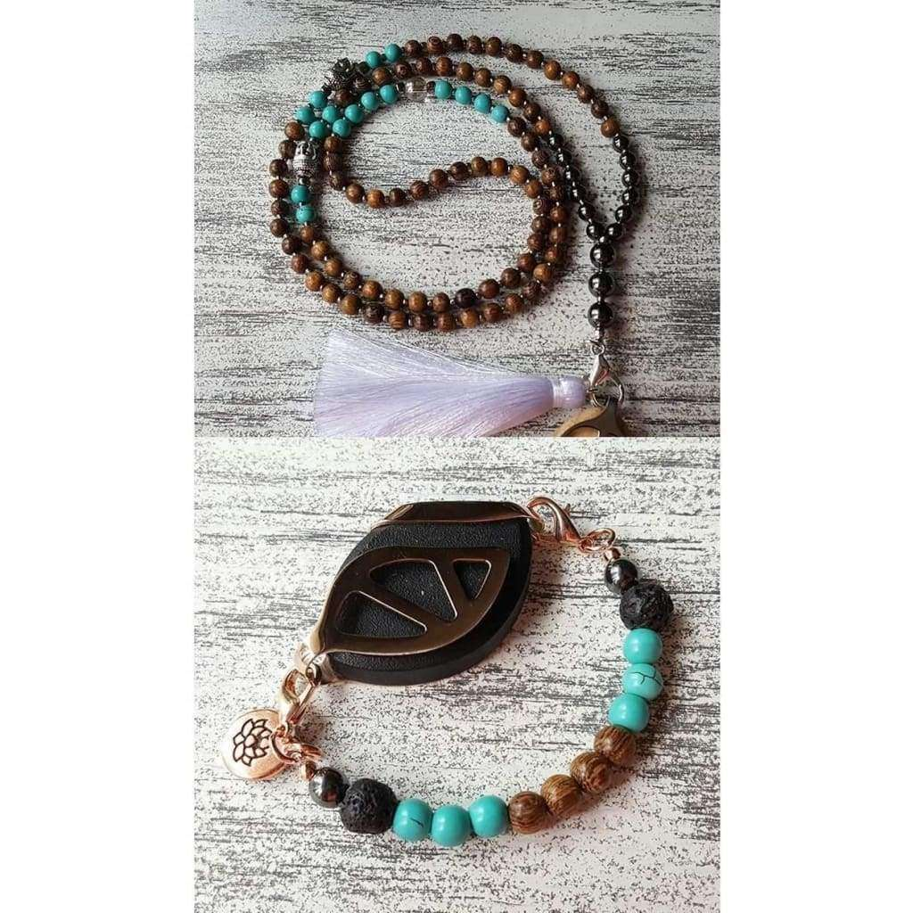 BUNDLE SET - Clarity Beaded Mala Tassel Necklace and Boho Aromatherapy Bracelet Set