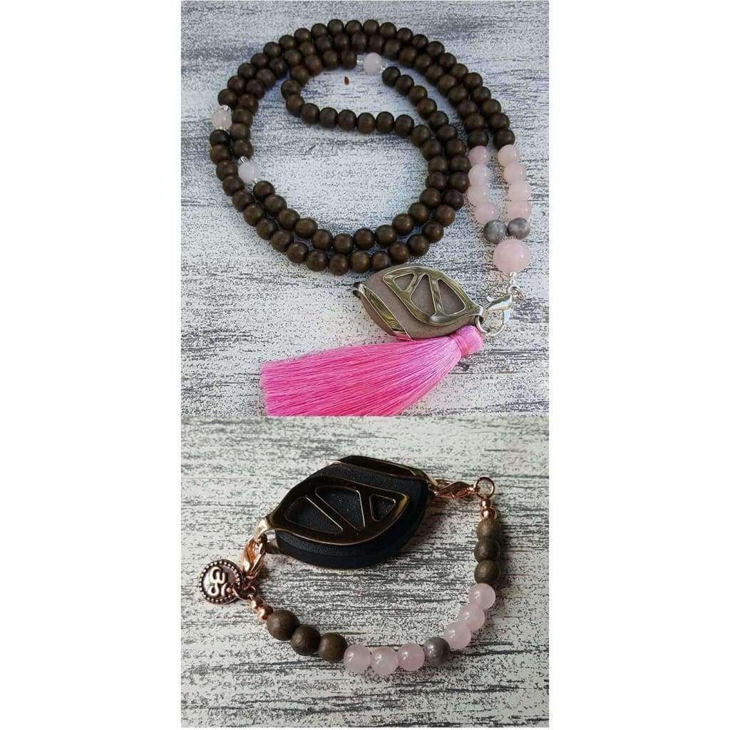 BUNDLE SET - Love - Dark Graywood Beaded Mala Tassel Necklace and Boho Bracelet Set