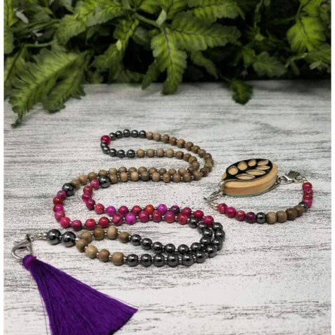 BUNDLE SET - Strength - Beaded Mala Tassel Necklace and Boho Bracelet Set