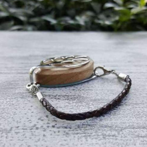 Coffee Leather Bolo Bellabeat Leaf Bracelet