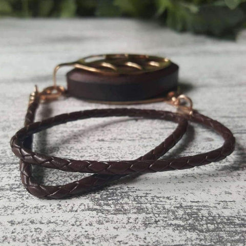 Coffee Wrap Leather Bolo Bellabeat Leaf Bracelet