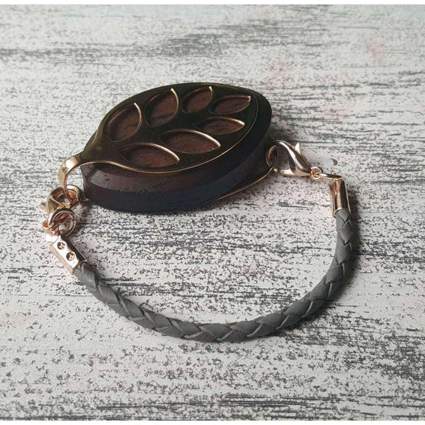 Gray Leather Bolo Bellabeat Leaf Bracelet
