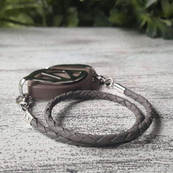 Gray Wrap Leather Bolo Bellabeat Leaf Bracelet