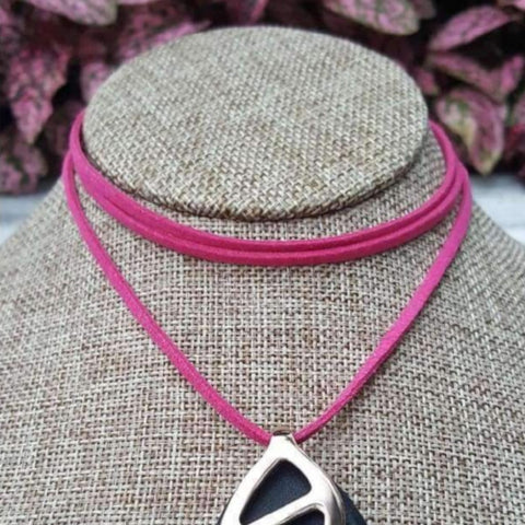 Hot Pink Faux Suede Choker - Bellabeat Leaf Necklace