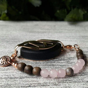 Love Mala Dark Graywood Bellabeat Leaf Bracelet