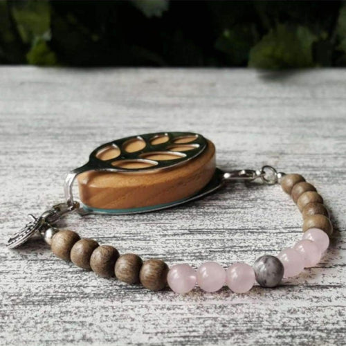 Love Mala Light Graywood Bellabeat Leaf Bracelet