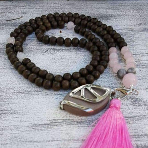 Love Mala Necklace - (Dark Graywood)