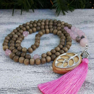 Love Mala Necklace - (Light Graywood)