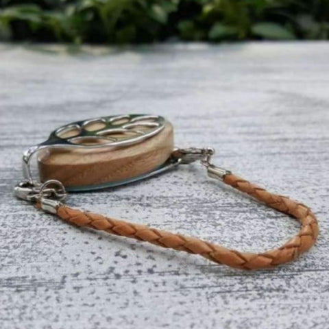 Natural Leather Bolo Bellabeat Leaf Bracelet