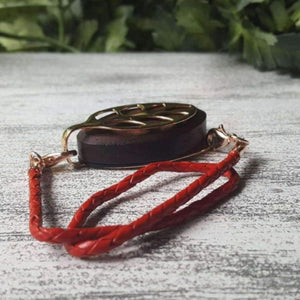 Red Wrap Leather Bolo Bellabeat Leaf Bracelet