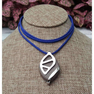 Royal Blue Faux Suede Choker - Bellabeat Leaf Necklace