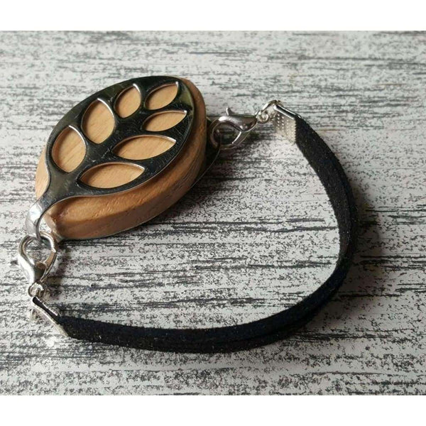 RTS - Black Faux Suede Bellabeat Leaf Bracelet