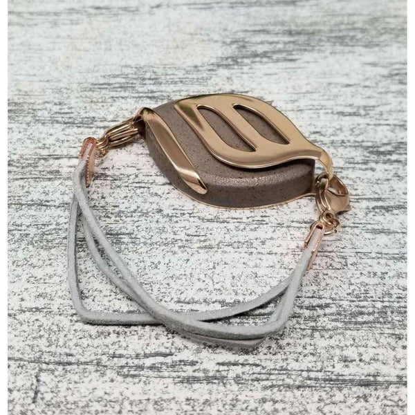 RTS - Harbor Gray Suede Bellabeat Leaf Bracelet