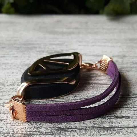 RTS - Purple Faux Suede Bellabeat Leaf Bracelet