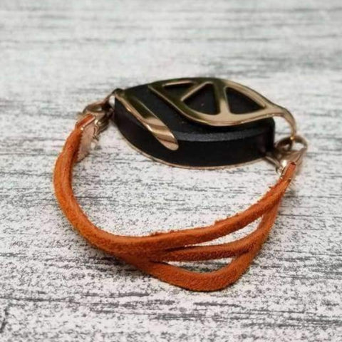 Rust Suede Bellabeat Leaf Bracelet